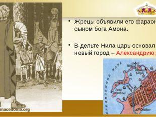 Жрецы объявили его фараоном, сыном бога Амона. В дельте Нила царь основал нов