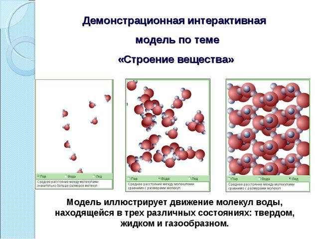 Демонстрационная интерактивная модель по теме «Строение вещества» Модель иллю...