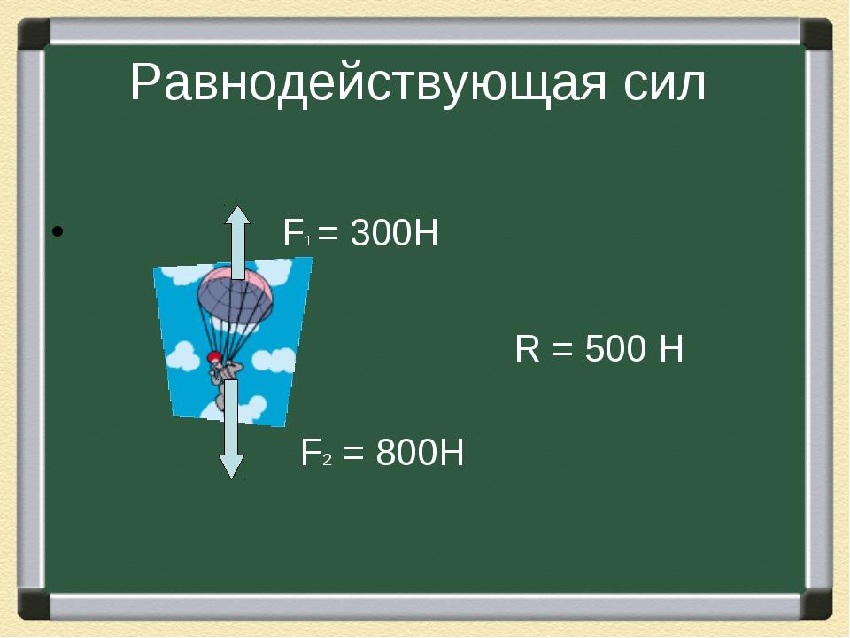 Равнодействующая сил F1 = 300Н F2 = 800Н R = 500 Н