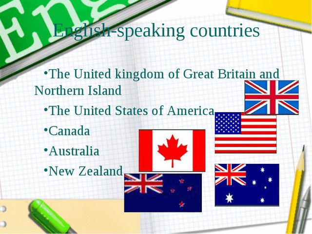 English-speaking countries The United kingdom of Great Britain and Northern I...