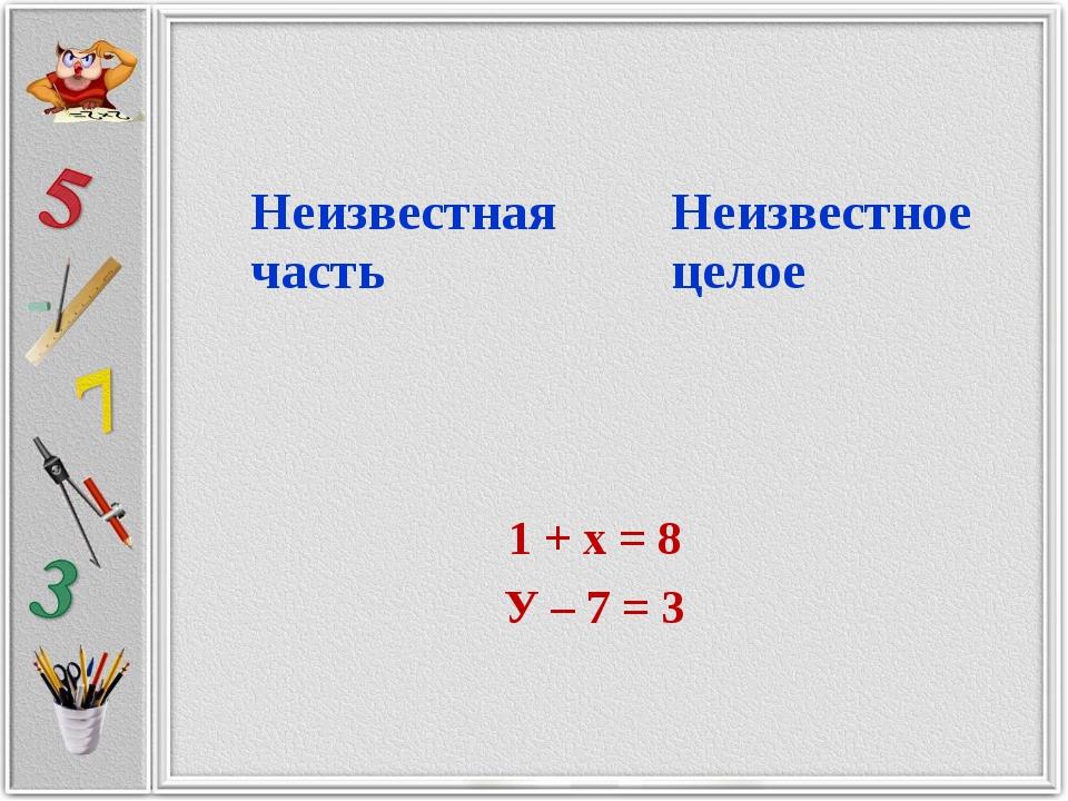 1 + х = 8 У – 7 = 3 Неизвестная частьНеизвестное целое