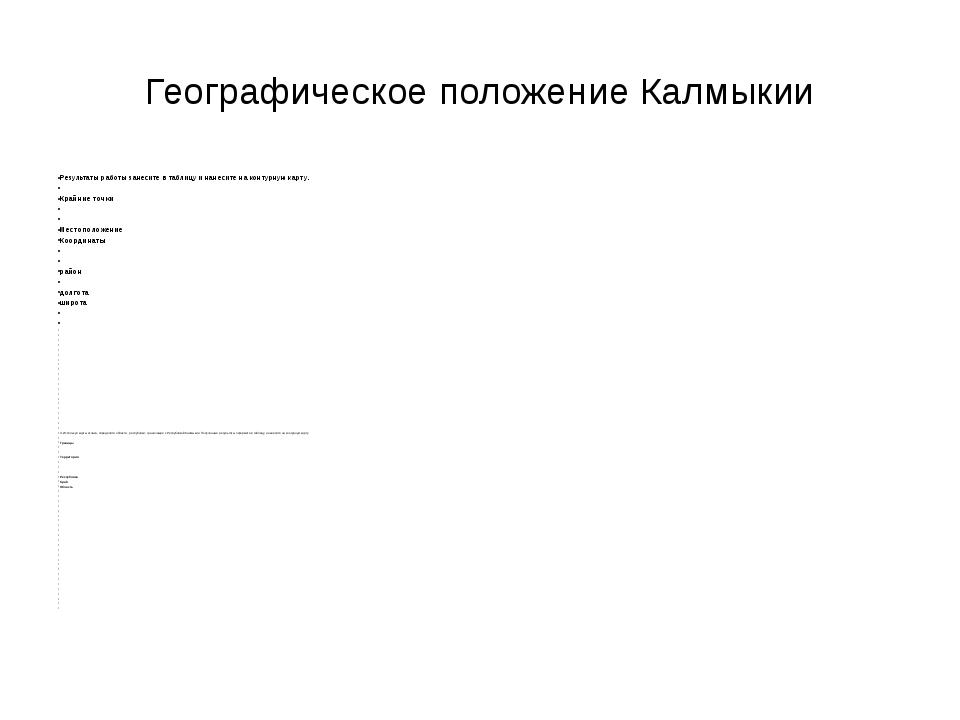 Географическое положение Калмыкии Результаты работы занесите в таблицу и нане...
