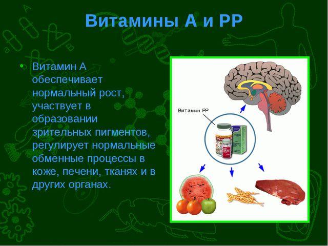 Витамины А и РР Витамин А обеспечивает нормальный рост, участвует в образован...