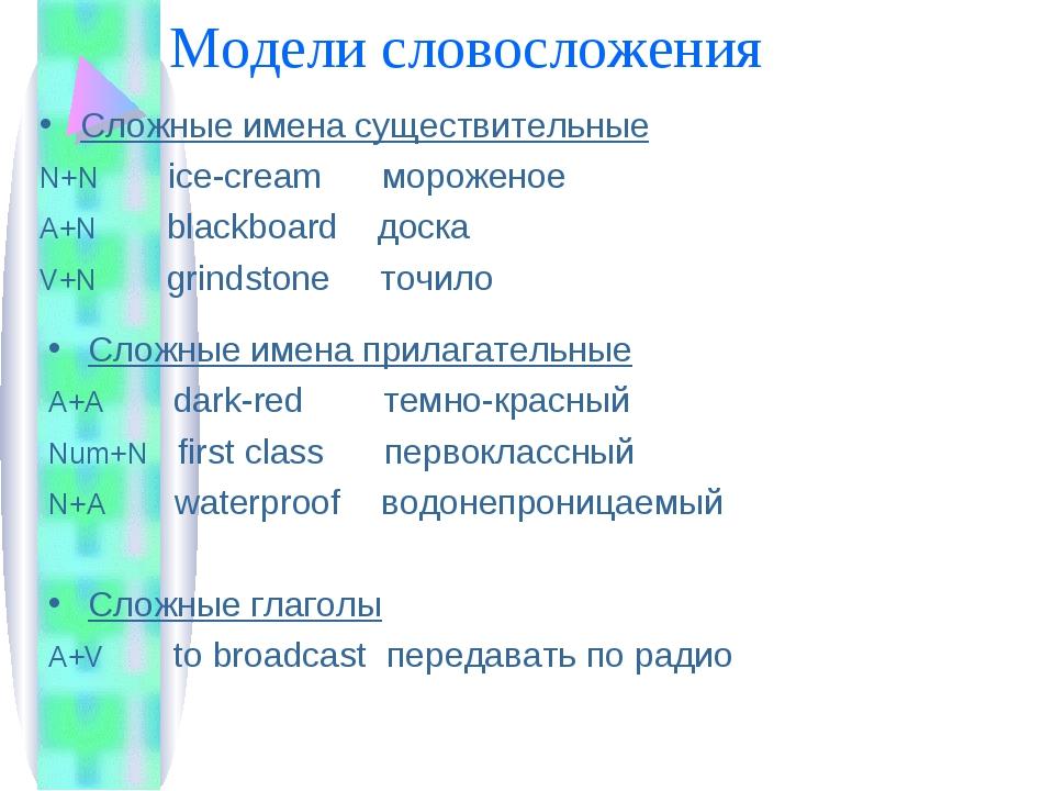 Модели словосложения Сложные имена существительные N+N ice-cream мороженое A+...