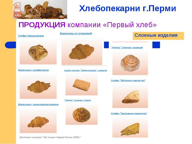 ПРОДУКЦИЯ компании «Первый хлеб» Хлебопекарни г.Перми Слоеные изделия