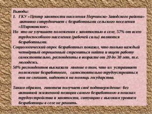 Выводы: ГКУ «Центр занятости населения Нерчинско-Заводского района» активно с