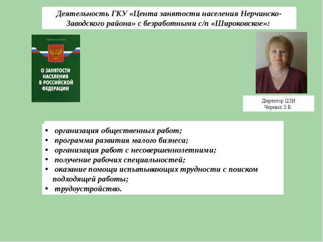Директор ЦЗН Черных З.В. Деятельность ГКУ «Цента занятости населения Нерчинск...