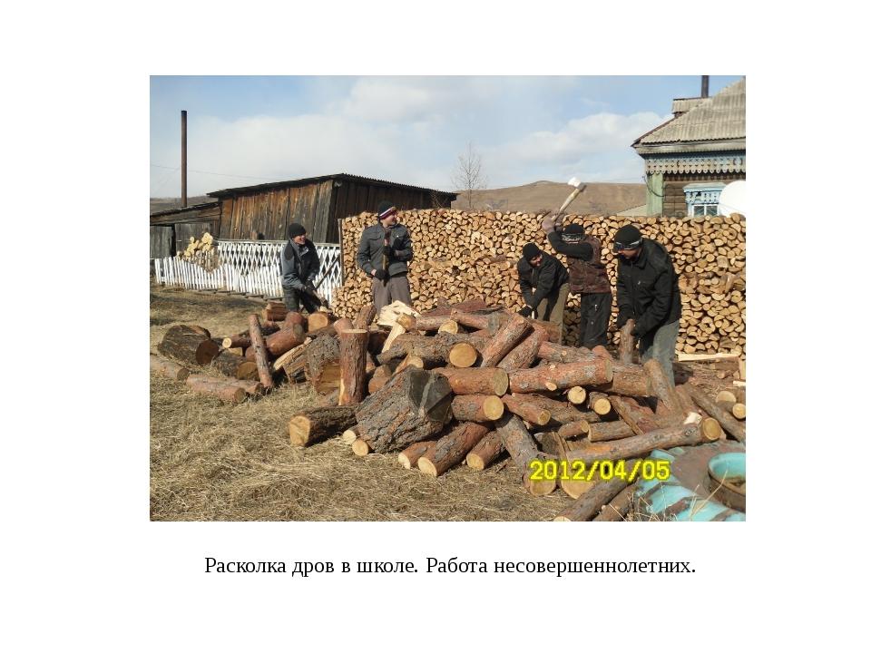Расколка дров в школе. Работа несовершеннолетних.