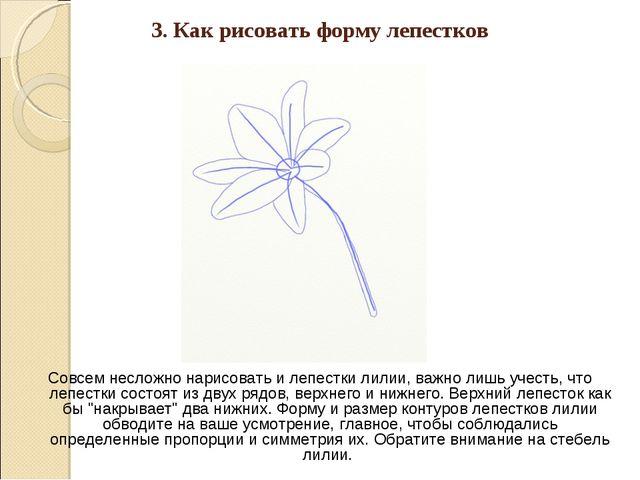 3. Как рисовать форму лепестков Совсем несложно нарисовать и лепестки лилии,...