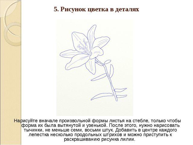 5. Рисунок цветка в деталях Нарисуйте вначале произвольной формы листья на ст...