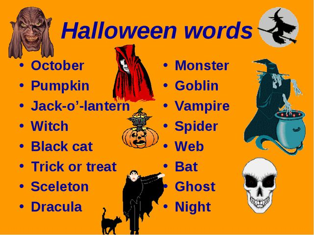 Halloween words October Pumpkin Jack-o'-lantern Witch Black cat Trick or trea...