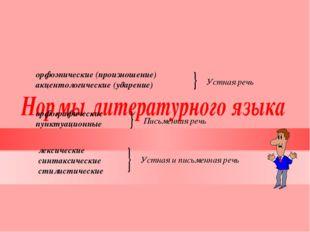 орфоэпические (произношение) акцентологические (ударение) орфографические пун