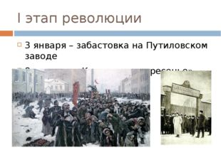 I этап революции 3 января – забастовка на Путиловском заводе 9 января – «Кров