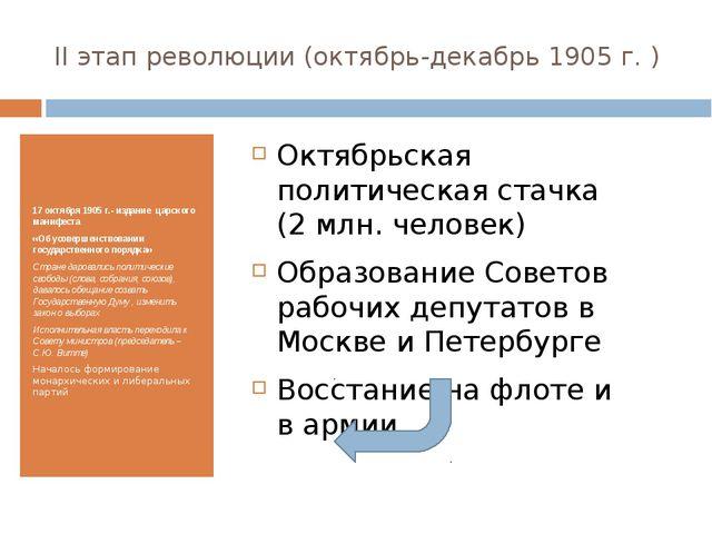 II этап революции (октябрь-декабрь 1905 г. ) 17 октября 1905 г.- издание царс...