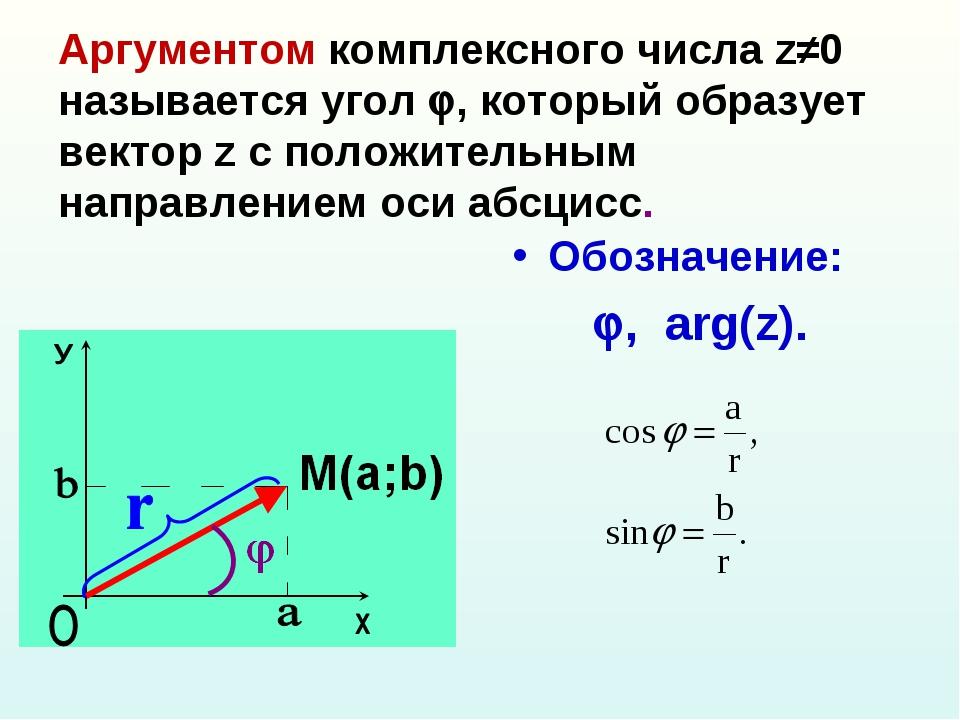 Аргументом комплексного числа z≠0 называется угол , который образует вектор...
