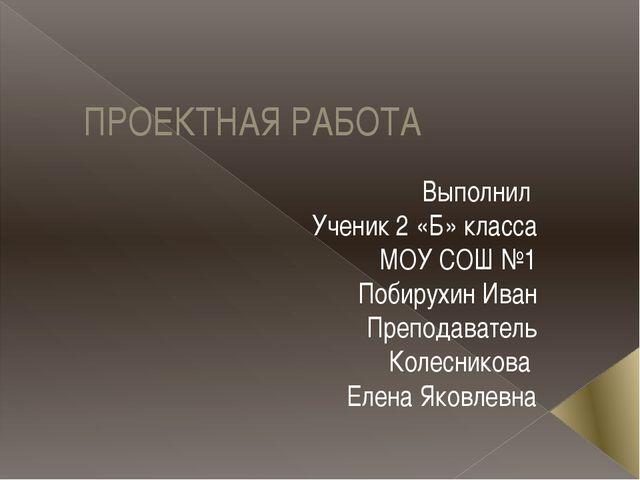 ПРОЕКТНАЯ РАБОТА Выполнил Ученик 2 «Б» класса МОУ СОШ №1 Побирухин Иван Препо...