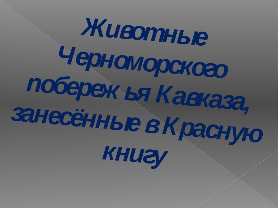 Животные Черноморского побережья Кавказа, занесённые в Красную книгу