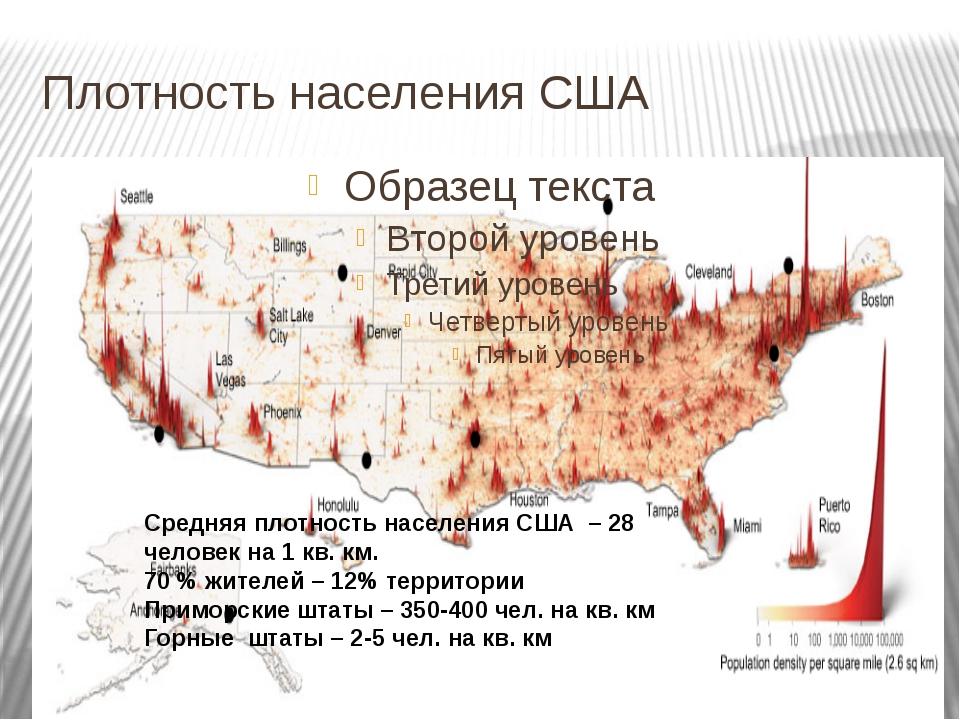 Плотность населения США Средняя плотность населения США – 28 человек на 1 кв....