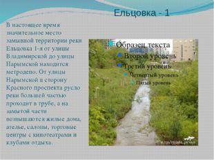 Ельцовка - 1 В настоящее время значительное место замывной территории реки Ел
