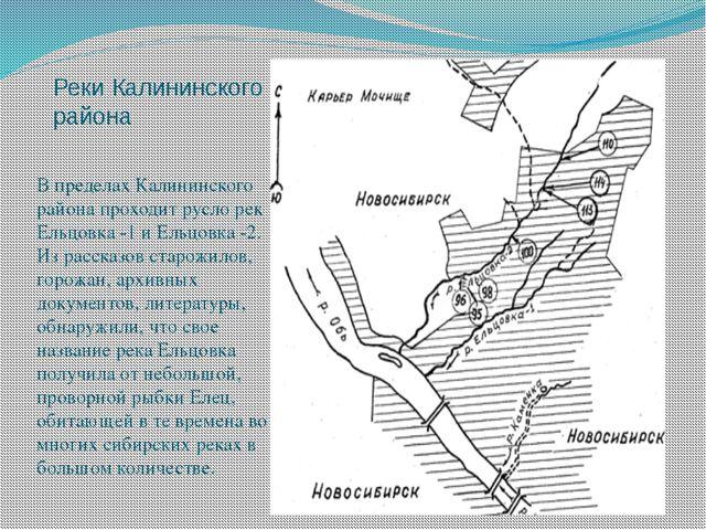 Реки Калининского района В пределах Калининского района проходит русло рек Ел...