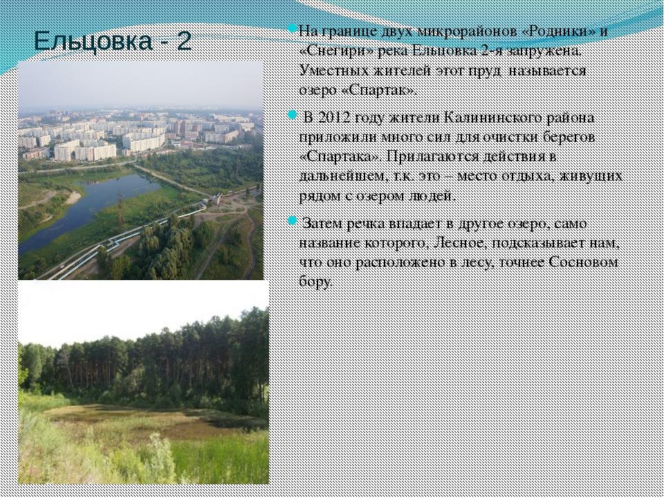 Ельцовка - 2 На границе двух микрорайонов «Родники» и «Снегири» река Ельцовка...
