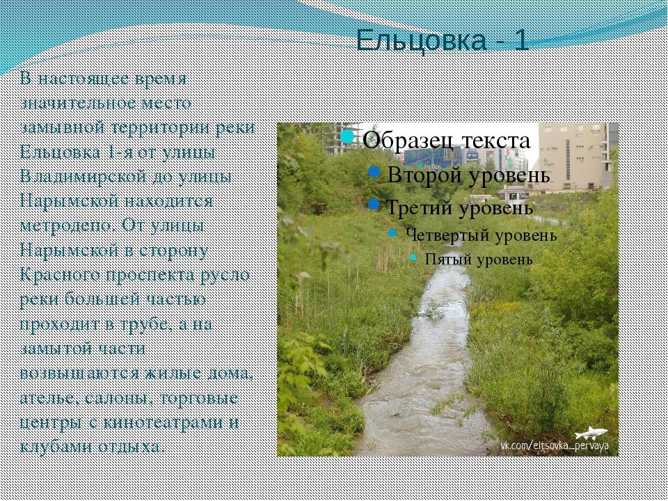 Ельцовка - 1 В настоящее время значительное место замывной территории реки Ел...
