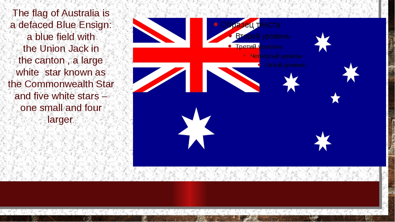 Theflag ofAustraliais adefacedBlue Ensign: a blue field with theUnion J...