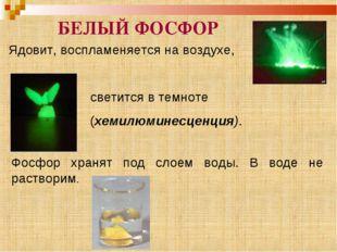 Ядовит, воспламеняется на воздухе, БЕЛЫЙ ФОСФОР светится в темноте (хемилюмин