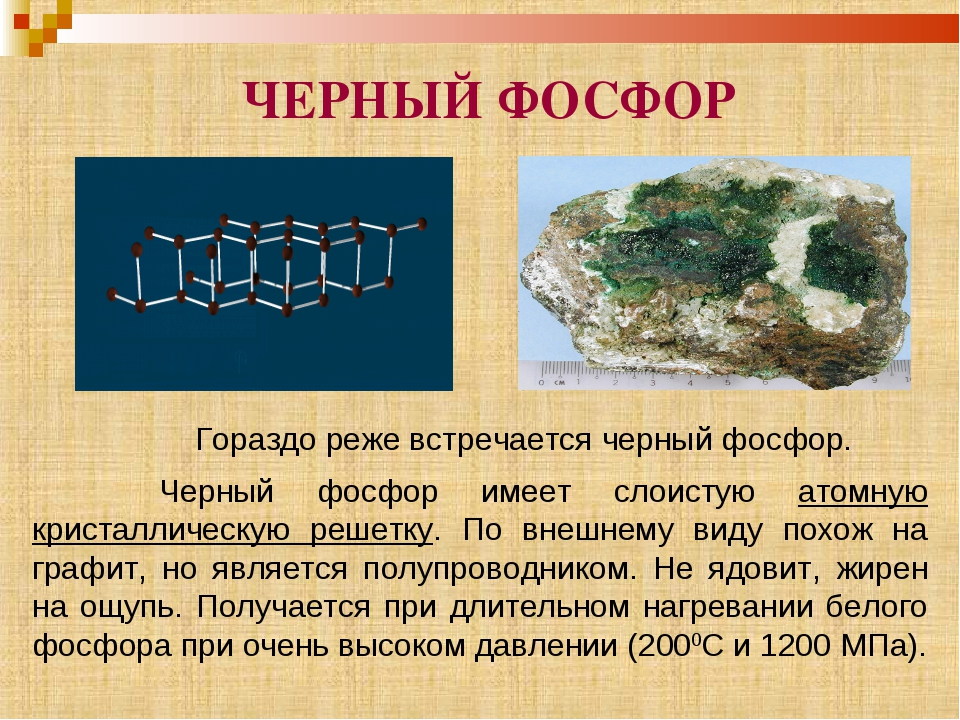 ЧЕРНЫЙ ФОСФОР Гораздо реже встречается черный фосфор. Черный фосфор был получ...