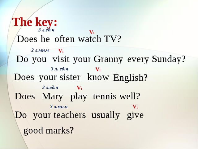 The key: Does he often watch TV? 3 л.ед.ч Do you visit your Granny every Sund...