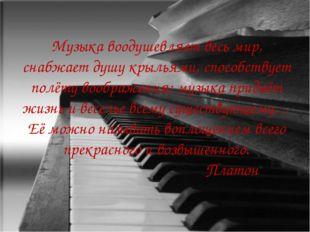 Музыка воодушевляет весь мир, снабжает душу крыльями, способствует полёту воо