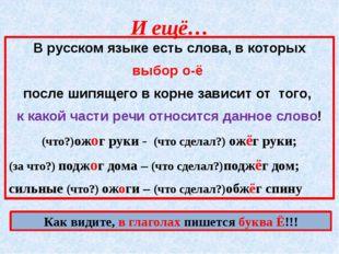 И ещё… В русском языке есть слова, в которых выбор о-ё после шипящего в корне