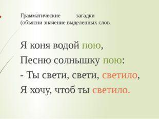 Грамматические загадки (объясни значение выделенных слов Я коня водой пою, Пе