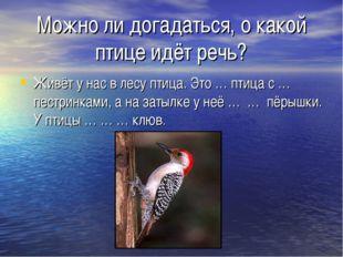 Можно ли догадаться, о какой птице идёт речь? Живёт у нас в лесу птица. Это …
