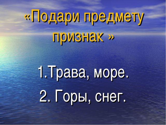 «Подари предмету признак » 1.Трава, море. 2. Горы, снег.
