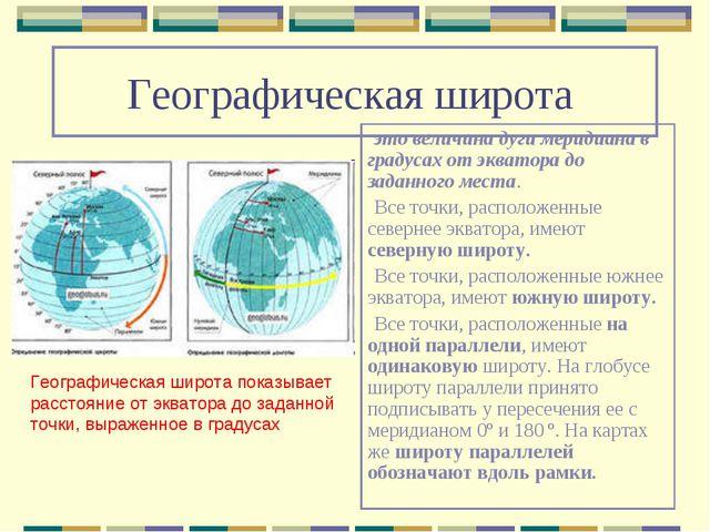 Географическая широта это величина дуги меридиана в градусах от экватора до з...