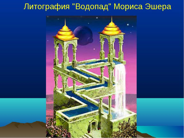 "Литография ""Водопад"" Мориса Эшера"
