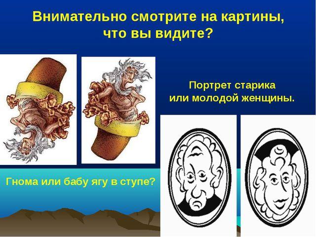 Внимательно смотрите на картины, что вы видите? Гнома или бабу ягу в ступе? П...
