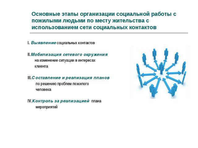 Основные этапы организации социальной работы с пожилыми людьми по месту жител...