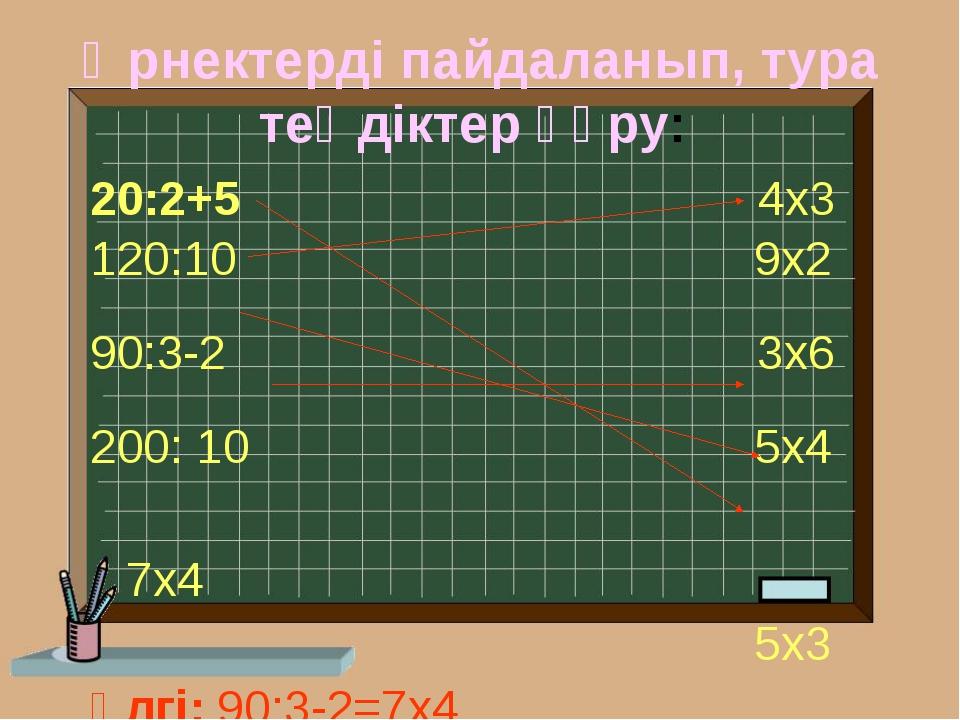 Өрнектерді пайдаланып, тура теңдіктер құру: 20:2+5 4х3 120:10 9х2 90:3-2 3х6...