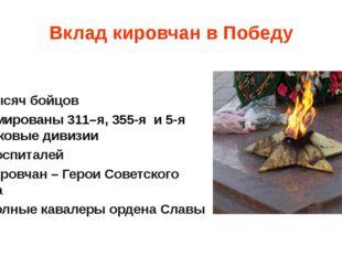 Вклад кировчан в Победу 600 тысяч бойцов сформированы 311–я, 355-я и 5-я стре