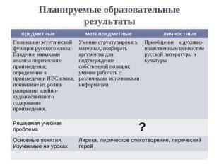 Планируемые образовательные результаты предметные метапредметные личностные