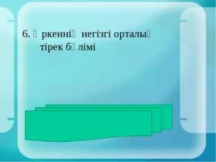 6. Өркеннің негізгі орталық тірек бөлімі ЖАУАБЫ: сабақ