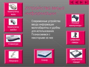 Современные устройства ввода информации малогабаритны и удобны для использов