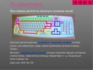 Все клавиши делятся на несколько основных частей: Красным цветом выделены а