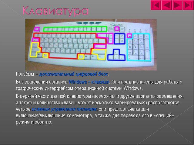 Голубым – дополнительный цифровой блок. Без выделения остались Windows – кл...