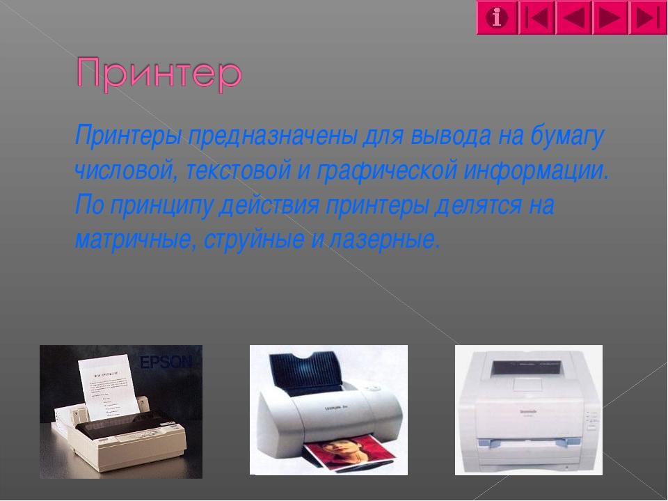 Принтеры предназначены для вывода на бумагу числовой, текстовой и графическо...