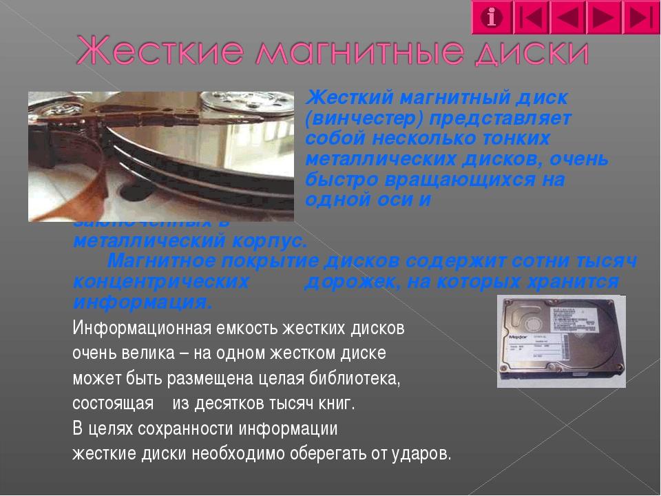 Жесткий магнитный диск (винчестер) представляет собой нескольк...
