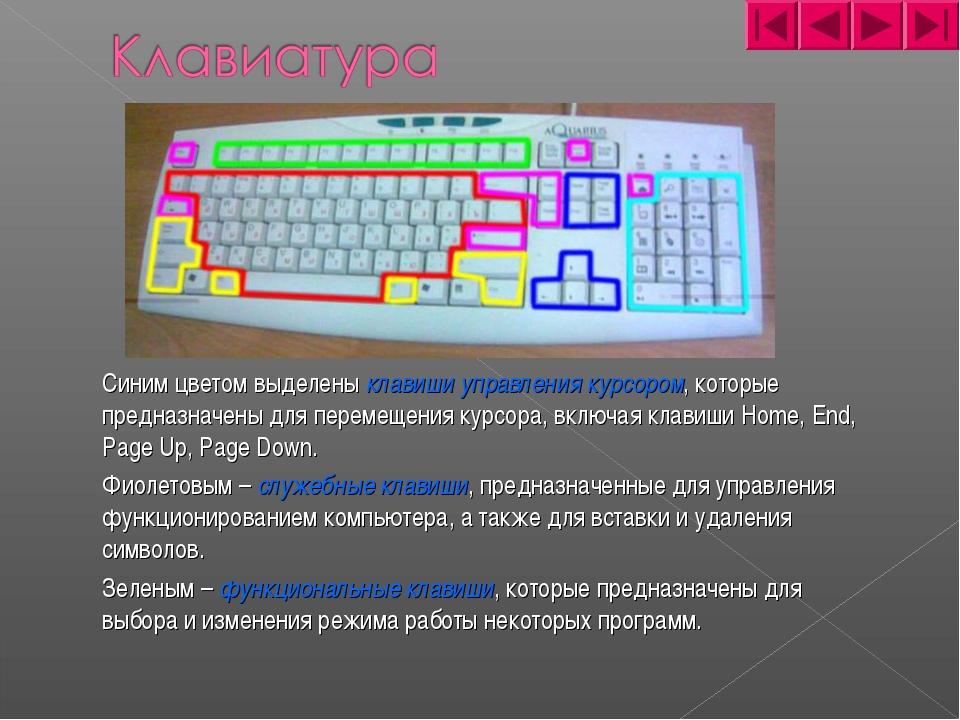 Синим цветом выделены клавиши управления курсором, которые предназначены для...