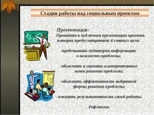 Презентация: Проводится публичная презентация проекта, которая предусматрива